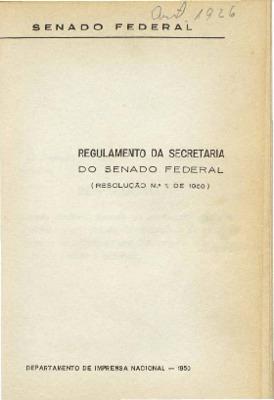 Regulamento da Secretaria do Senado Federal : (Resolução n ...