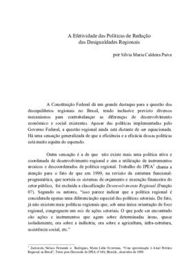 A efetividade das políticas de redução das desigualdades r ...