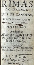 Rimas do grande Luis de Camoens, principe dos poetas de He ...
