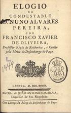 Elogio do Condestable D. Nuno Alvares Pereira, Lisboa, 1798