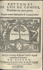 CAMOES,Luís de,1524-1580<br/>Rhythmas / de Luis de Camoes ; diuididas em cinco partes.... - Em Lisboa : por Manoel de Lyra : a custa de Esteuão Lopez,1595. - [8], 166 [i.é 170], [4] f. ; 4º (20 cm)