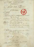 Tragicomedia intitulada Catao na Utica, 1788 Mar. 12