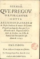 Sermaõ, que pregou o R. P. Fr. Gaspar Cotta... Prègado em hu[..]