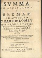 Summa do apostolado, e sermam do Apostolo S. Bartholomeu,  ...