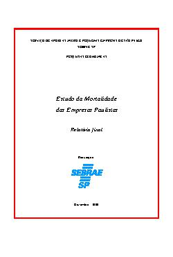 Sebrae - 1 A 5 Anos Mortalidade Empresas Paulistas 1998 19 ...
