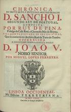 Chronica do... principe D. Sancho I segundo Rey de Portuga ...