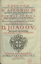 Chronica do... principe D. Affonso III quinto Rey de Portu ...