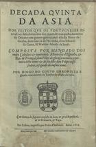 Decada quinta da Asia: Dos feitos que os portugueses fizer ...