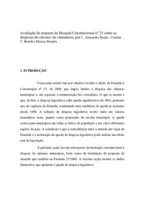 Avaliação do impacto da emenda constitucional n. 25 sobre  ...