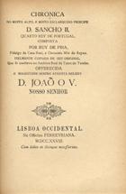 Chronica de El-Rei D. Sancho II, Lisboa, 1906
