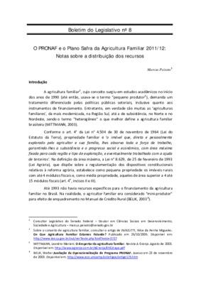 O PRONAF e o Plano Safra da Agricultura Familiar 2011/12 : ...
