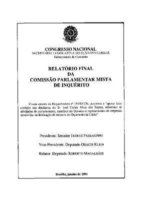 Relatório final da Comissão Parlamentar Mista de Inquérito ...