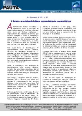 O Senado e a participação indígena nos resultados dos recu ...