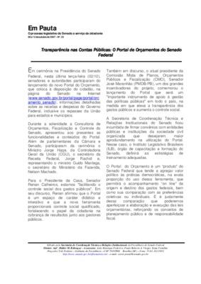 Transparência nas contas públicas: o portal de orçamentos  ...