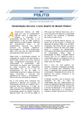 Consolidação das leis: o novo desafio do Senado Federal