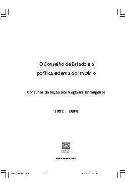 O Conselho de Estado e a Política Externa do Império (1875 ...