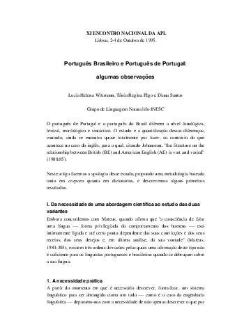 Diferenças entre portugues Brasil e Portugal