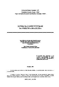 Estudo da competitividade da indústria brasileira- relaçõe ...