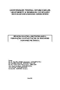 Pós-graduação e biotecnologia: formação e capacitação de r ...