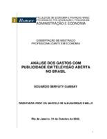 Análise dos gastos com publicidade em televisão aberta no  ...