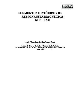 Elementos históricos de ressonância magnética nuclear
