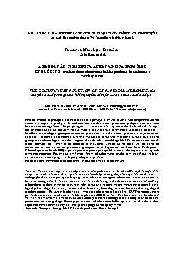 A produção científica acerca do patrimônio geológico: anál ...