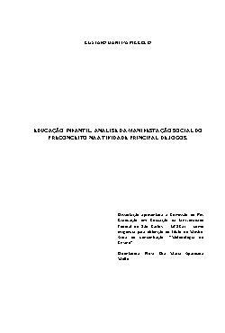 Educação infantil: análise da manifestação social do preco ...