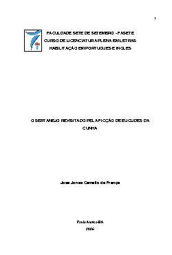 O sertanejo revisitado pela ficção de Euclides da Cunha