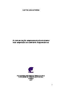 A comunicação empresarial pós-moderna nas empresas socialm ...