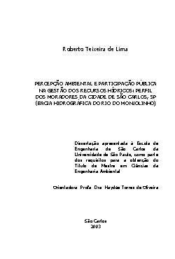 Percepção ambiental e participação pública na gestão dos r ...