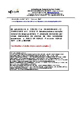 Estudos sobre a nutrição mineral do sorgo granífero: VI ab ...