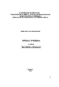 Ritual e pessoal entre os Waimiri- Atroari