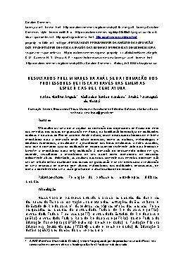 Resultados preliminares da análise da formação dos profess ...