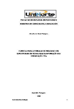 Currículo para a formação do pedagogo com especificidade e ...