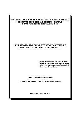 O programa nacional de produção e uso de biodiesel: impact ...