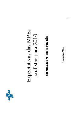 Sebrae - Expectativas Micro e Pequena Empresas 2010