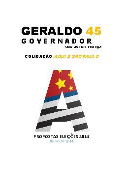 Plano de Governo São Paulo 2014 - Geraldo Alckmin