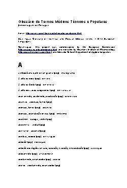 Glossário de Termos Médicos Técnicos e Populares