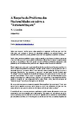 """A Respeito do Problema das Nacionalidades ou sobre a """"Auto ..."""