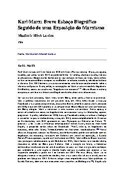 Karl Marx: Breve Esboço Biográfico Seguido de uma Exposiçã ...
