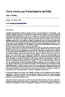 Carta Aberta aos Trabalhadores da Índia