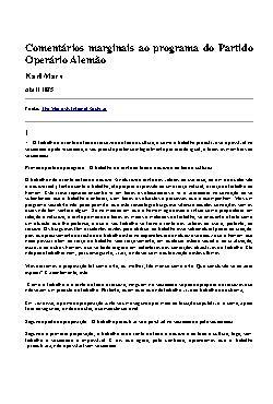 Comentários Marginais ao Programa do Partido Operário Alem ...