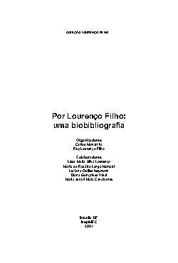 Lourenço Filho - N°. 1 - Por Lourenço Filho: uma bibliogra ...