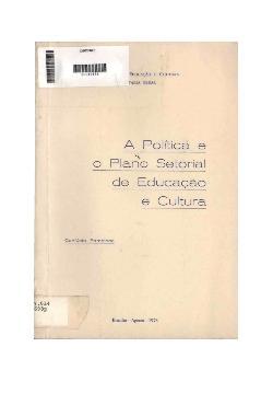 A política e o plano setorial de educação e cultura