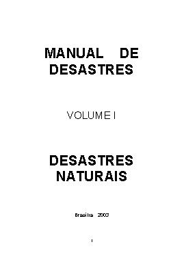 Manual de desastres: desastres naturais