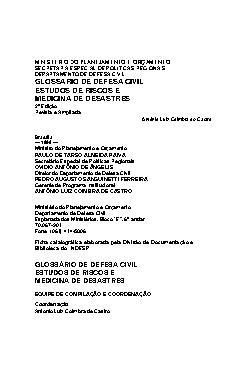 Glossário de defesa civil: estudos de riscos e medicina de ...