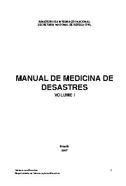 Manual de de medicina de desastres: volume I