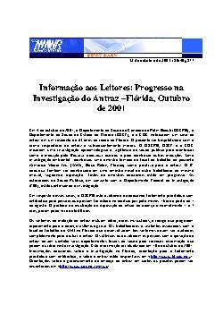 Progresso na investigação do Antraz - Flórida, outubro de  ...