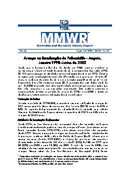 Avanço na erradicação da poliomielite - Angola,janeiro 199 ...