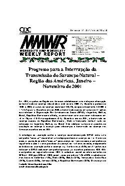 Progresso para a interrupção da transmissão do sarampo nat ...